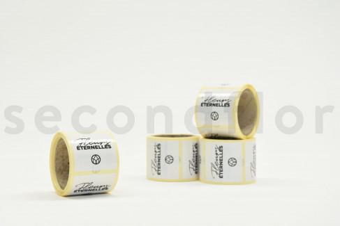 Quadratische Sticker « Fleurs Éternelles » - 1 Rolle à 100 Stück - Weiß