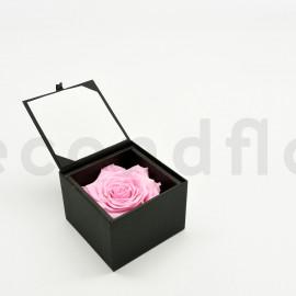 Bloominbox XL - Czarne - Róża stabilizowana jasnoróżowa