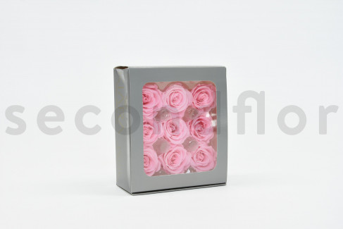 Rose stabilisée Kiara M - Boîte de 9 - Rose