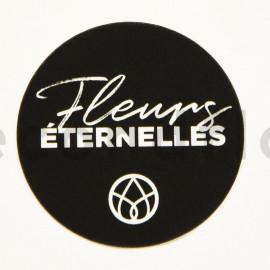 Stickers rond «Fleurs Éternelles» - 1 rouleau de 100 - Noir