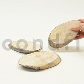 Grande rondelle de bois ovale - 3 Unités - Blanchi